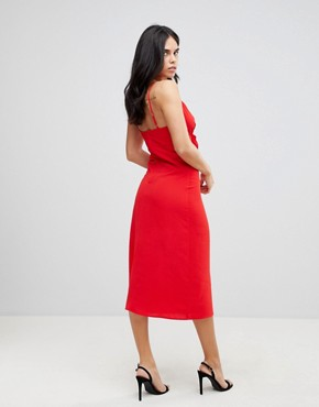 photo Bow Front Midi Dress by AX Paris, color Red - Image 2