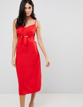 photo Bow Front Midi Dress by AX Paris, color Red - Image 1