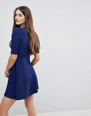 photo Wrap Front 3/4 Sleeve Dress by AX Paris, color Navy - Image 2