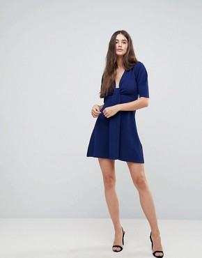 photo Wrap Front 3/4 Sleeve Dress by AX Paris, color Navy - Image 4
