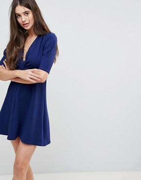 photo Wrap Front 3/4 Sleeve Dress by AX Paris, color Navy - Image 1
