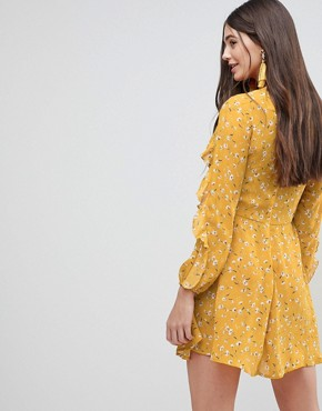 photo Frill Long Sleeve Skater Dress by AX Paris, color Yellow - Image 2
