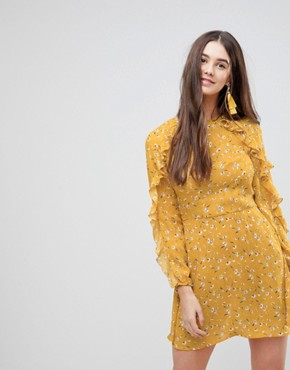 photo Frill Long Sleeve Skater Dress by AX Paris, color Yellow - Image 1