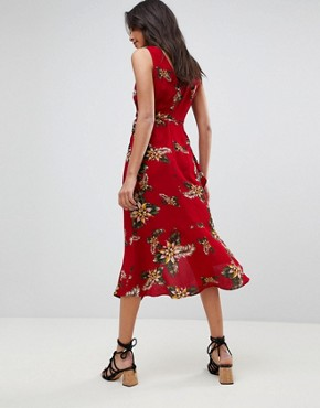 photo Leaf Print Frill Sleeve Dress by AX Paris, color Red - Image 2