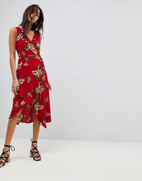 photo Leaf Print Frill Sleeve Dress by AX Paris, color Red - Image 1