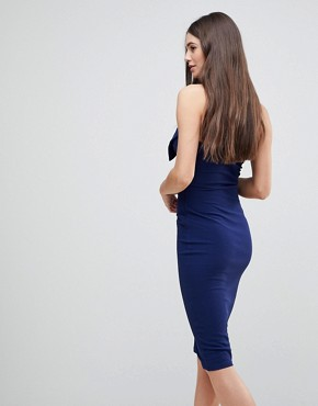 photo Bow Front Midi Bow Bodycon Dress by AX Paris, color Navy - Image 2