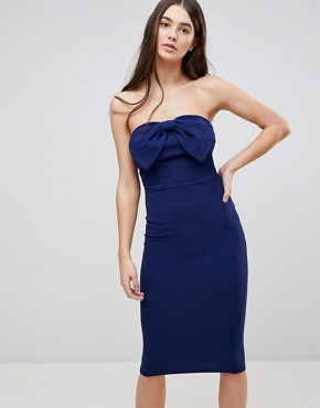 photo Bow Front Midi Bow Bodycon Dress by AX Paris, color Navy - Image 1