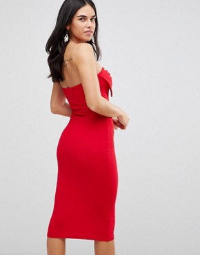 photo Bow Front Midi Bodycon Dress by AX Paris, color Red - Image 2
