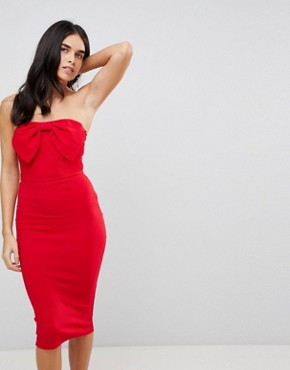 photo Bow Front Midi Bodycon Dress by AX Paris, color Red - Image 1