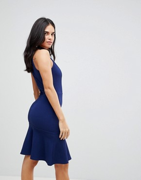 photo Peplum Midi Dress by AX Paris, color Navy - Image 2