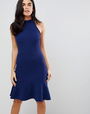 photo Peplum Midi Dress by AX Paris, color Navy - Image 1