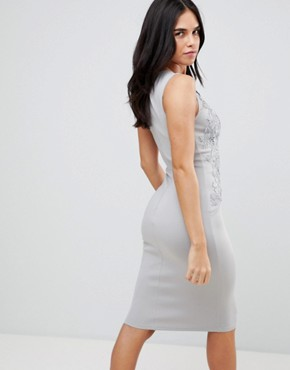 photo Applique Detial Scuba Bodycon Dress by AX Paris, color Grey - Image 2