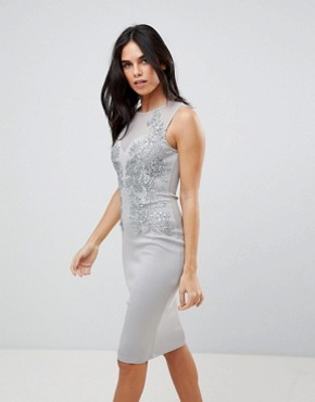 photo Applique Detial Scuba Bodycon Dress by AX Paris, color Grey - Image 1