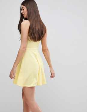photo Skater Dress with Crochet Top by AX Paris, color Lemon - Image 2