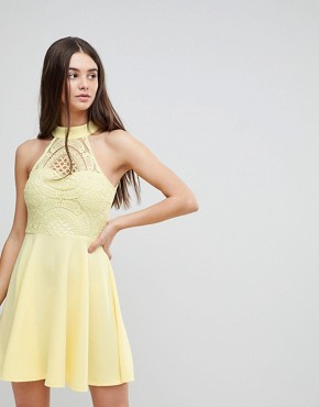 photo Skater Dress with Crochet Top by AX Paris, color Lemon - Image 1