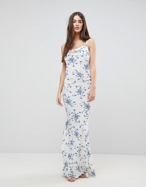 photo Maxi Dress with Tie Back in Floral by AX Paris, color White - Image 2