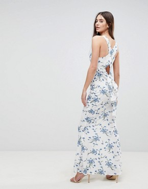 photo Maxi Dress with Tie Back in Floral by AX Paris, color White - Image 1