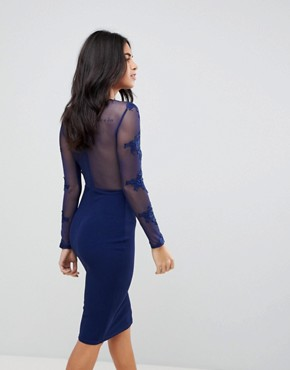 photo Long Sleeve Applique Bodycon Dress by AX Paris, color Navy - Image 2