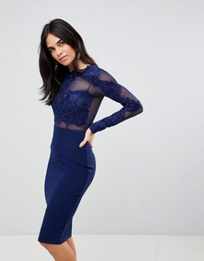 photo Long Sleeve Applique Bodycon Dress by AX Paris, color Navy - Image 1