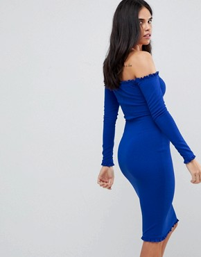 photo Midi Bodycon Dress with Frill Detail by AX Paris, color Cobalt - Image 2
