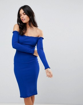 photo Midi Bodycon Dress with Frill Detail by AX Paris, color Cobalt - Image 1