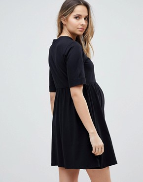 photo Mini Ultimate Cotton Smock Dress by ASOS Maternity, color Black - Image 2