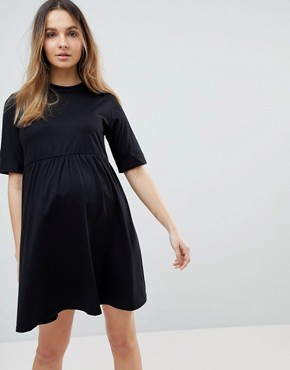 photo Mini Ultimate Cotton Smock Dress by ASOS Maternity, color Black - Image 1
