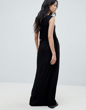 photo Madelyn Side Tie Maxi Dress by NYTT, color Black - Image 2