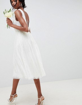 photo Waterfall Sequin Midi Wedding Dress by ASOS EDITION, color White - Image 2