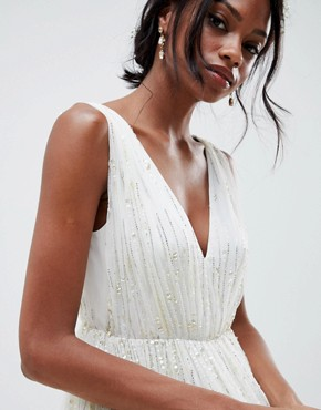 photo Waterfall Sequin Midi Wedding Dress by ASOS EDITION, color White - Image 3