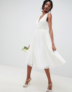 photo Waterfall Sequin Midi Wedding Dress by ASOS EDITION, color White - Image 1