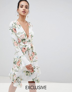 photo Floral Wrap Dress by PrettyLittleThing, color White - Image 1