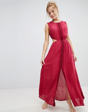 photo Maxi Dress with Lace Slits and Embroidery by En Creme, color Wine - Image 1
