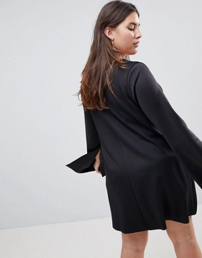 photo Scuba Swing Dress with Split Sleeve by ASOS CURVE, color Black - Image 2