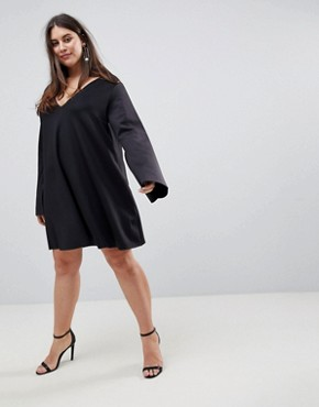 photo Scuba Swing Dress with Split Sleeve by ASOS CURVE, color Black - Image 4