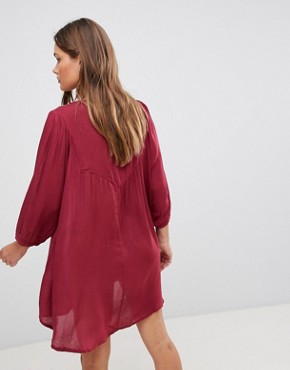 photo 3/4 Sleeve Beaded Slip on Dress by En Creme, color Burgundy - Image 2