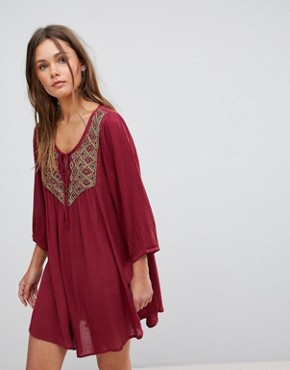 photo 3/4 Sleeve Beaded Slip on Dress by En Creme, color Burgundy - Image 1