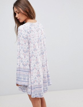 photo Long Sleeve Floral Dress with Front Keyhole by En Creme, color Pink Blue - Image 2