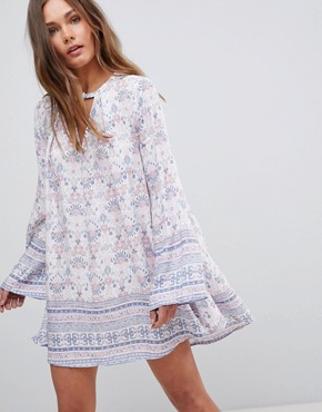 photo Long Sleeve Floral Dress with Front Keyhole by En Creme, color Pink Blue - Image 1