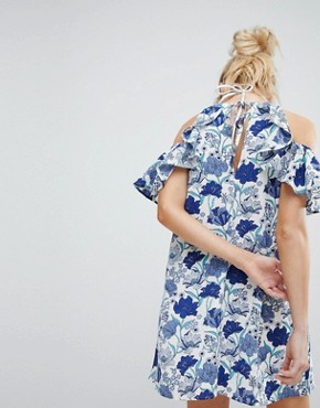 photo Floral Cold Shoulder Mini Dress with Ruffle by En Creme, color White Blue - Image 2
