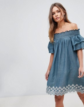photo Cold Shoulder Dress with Embroidery by En Creme, color Blue - Image 1