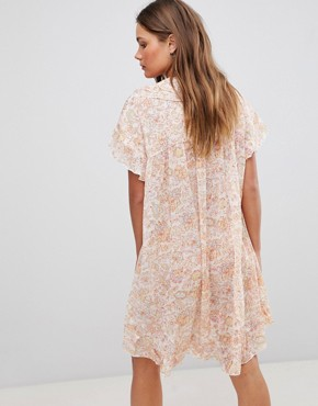photo Short Sleeve Floral Dress with Ruffles & Criss Cross Strings by En Creme, color Ivory Multicolor - Image 2