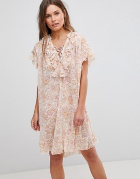 photo Short Sleeve Floral Dress with Ruffles & Criss Cross Strings by En Creme, color Ivory Multicolor - Image 1