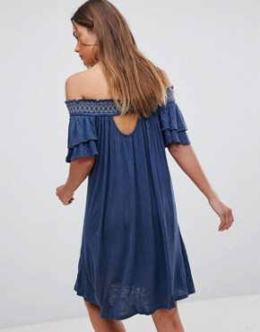 photo Short Sleeve Off the Shoulder Dress by En Creme, color Navy - Image 2
