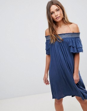 photo Short Sleeve Off the Shoulder Dress by En Creme, color Navy - Image 1