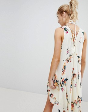photo Sleeveless Floral Dress with Back Lace Up Detail by En Creme, color Ivory Multicolor - Image 2