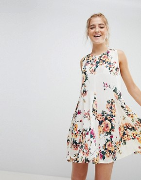 photo Sleeveless Floral Dress with Back Lace Up Detail by En Creme, color Ivory Multicolor - Image 1