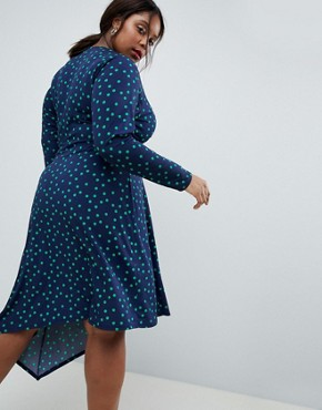 photo Midi Dress in Polka Dot with Knot Front and Asymmetric Hem by ASOS DESIGN Curve, color Multi - Image 2
