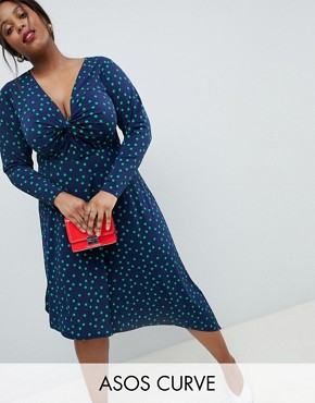photo Midi Dress in Polka Dot with Knot Front and Asymmetric Hem by ASOS DESIGN Curve, color Multi - Image 1