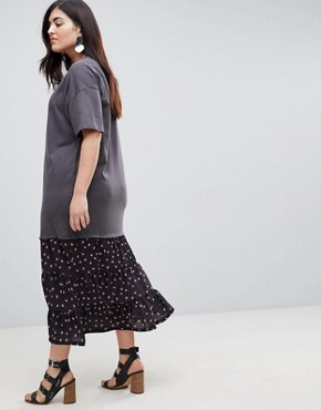 photo Oil Wash T-Shirt Maxi Dress with Woven Hem by ASOS CURVE, color Multi - Image 2
